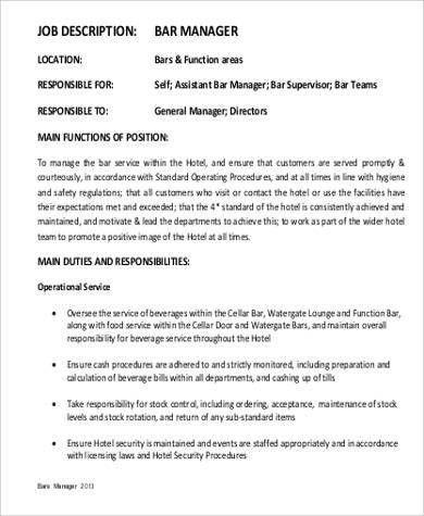 bar manager job description