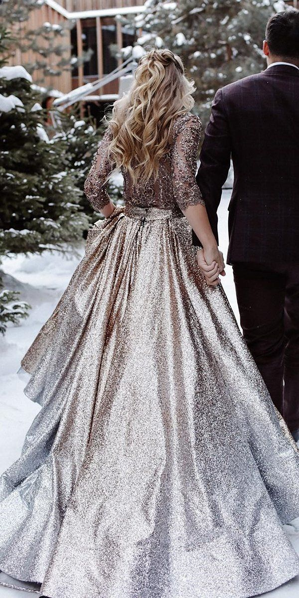 24 Winter Wedding Dresses & Outfits ❤ winter wedding dresses outfits a line with sleeves sequins gold lace katesofficial #weddingforward #wedding #bride