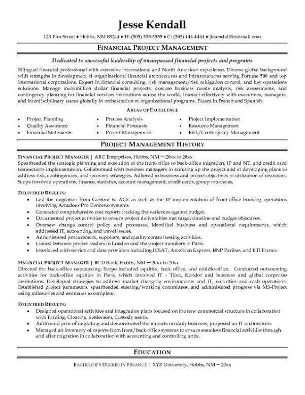 Project Manager Resume Objective Project Manager Resume Objective - finance resume objective