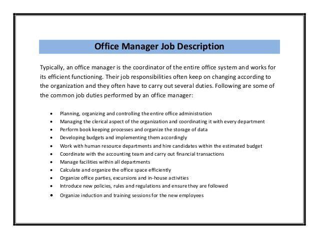medical office manager job description resume