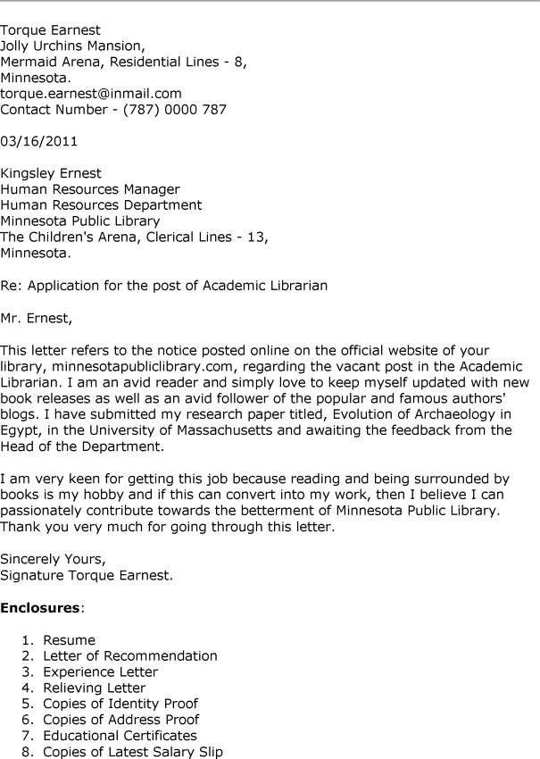 Library Technician Cover Letter Sample | Cover Letter