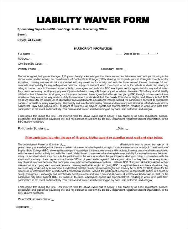... Free General Release Of Liability Form Template Printable Sample    Example Of Liability Waiver ...