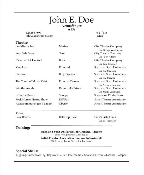 Sample Theater Resume 10 Acting Resume Templates Free Samples - sample actors resume