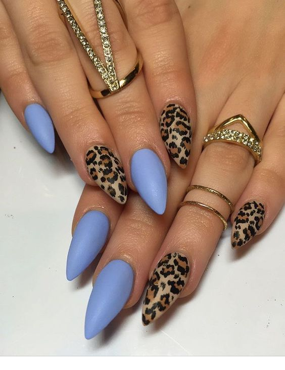 Light blue, leo print – nails