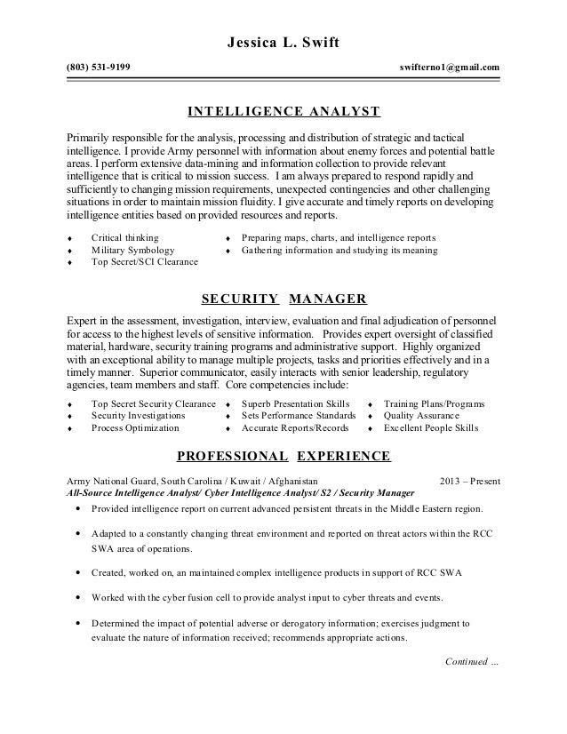army intelligence analyst sample resume node2001-cvresume