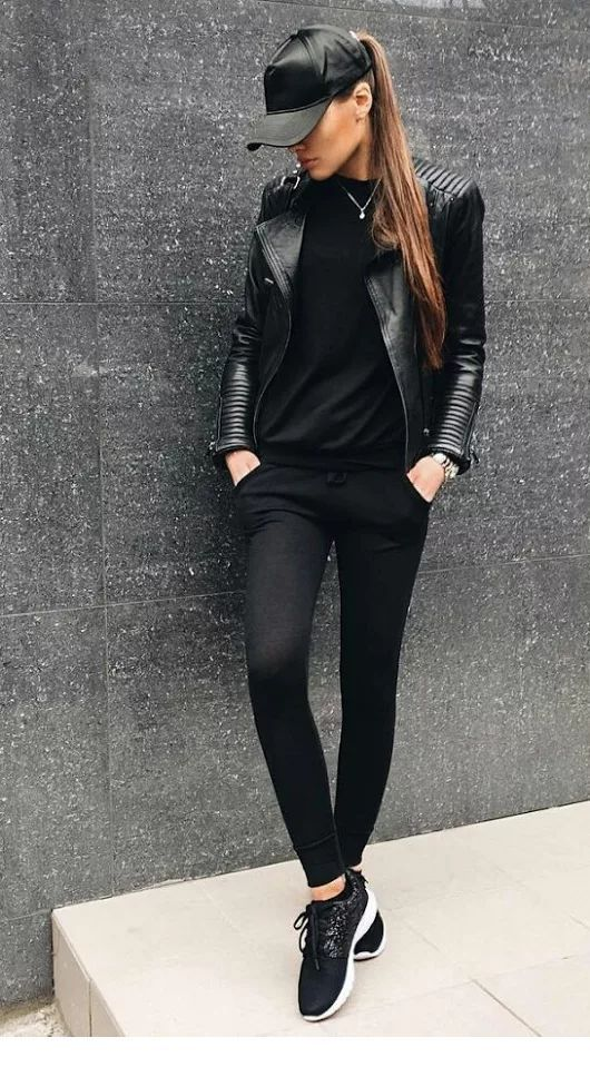All black leather style