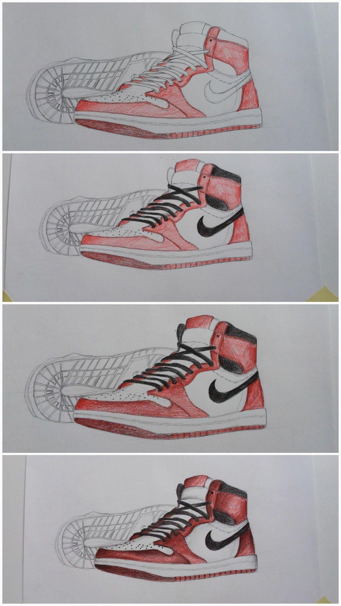 《Nike shoes drawing pencil colors》 Pencil art drawings
