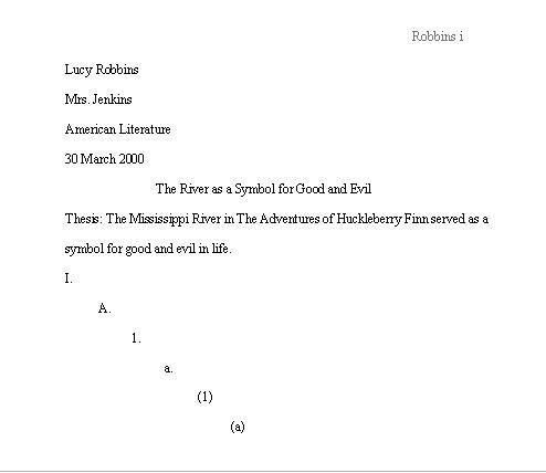 Mla Style Outline Example Mla Format Sample Paper With Cover Page - mla outline template