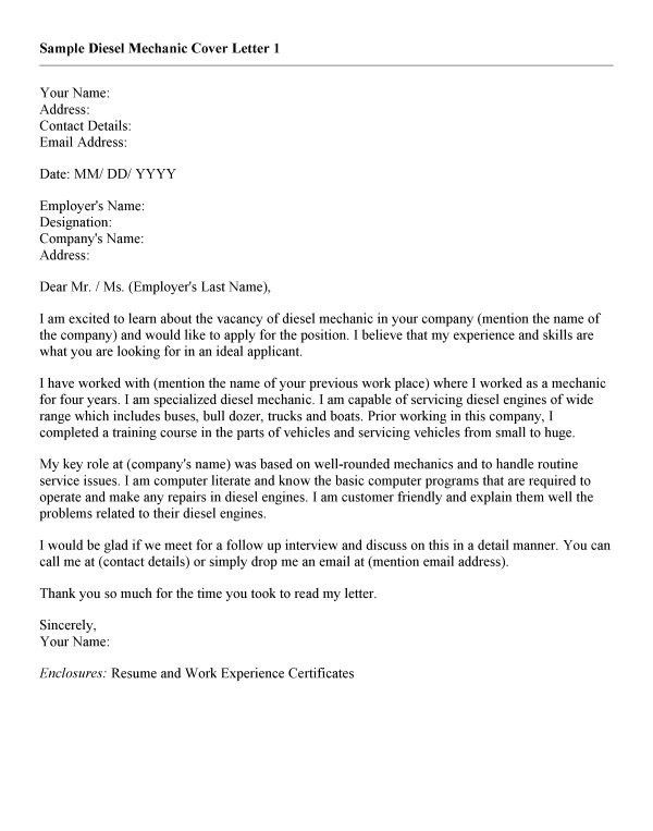 sample mechanic resume cover letter sample mechanic resume cover