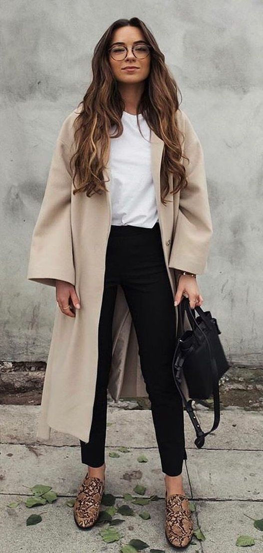 brown dress coat and white shirt with black pants #spring #outfits
