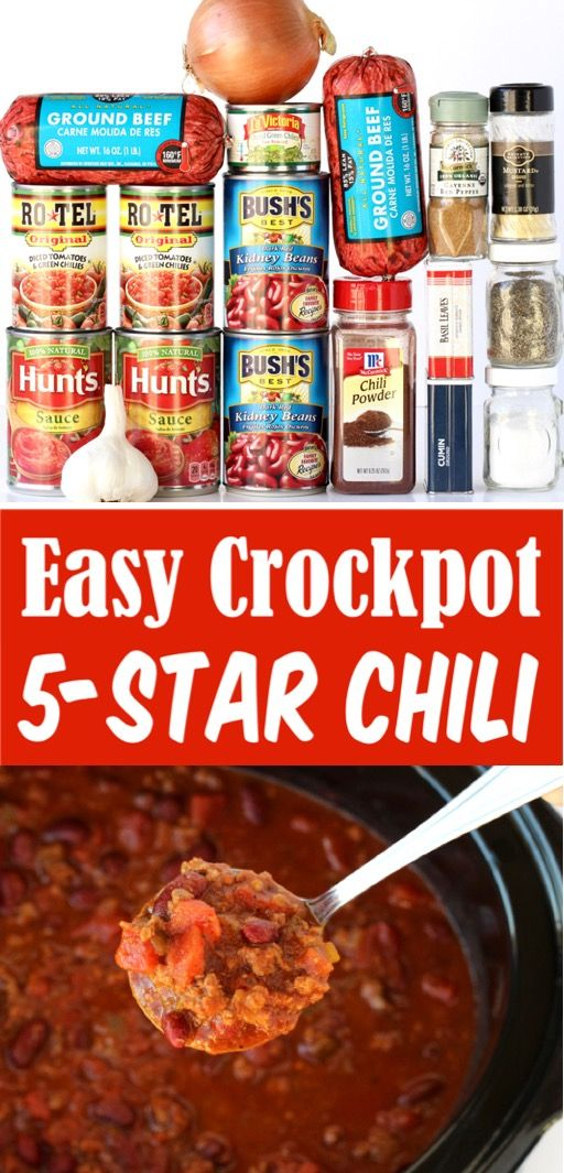 Slow Cooker Chili Recipe Easy Beef Crockpot Dinner!  {Crazy Easy!}