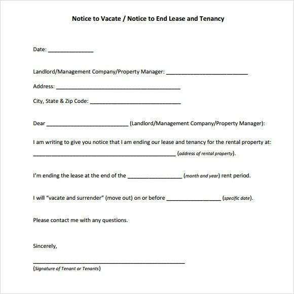 Notice To Vacate Property Template Notice To Vacate Template 30 - notice to vacate template