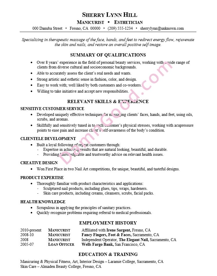 Nail Technician Cover Letter Letters