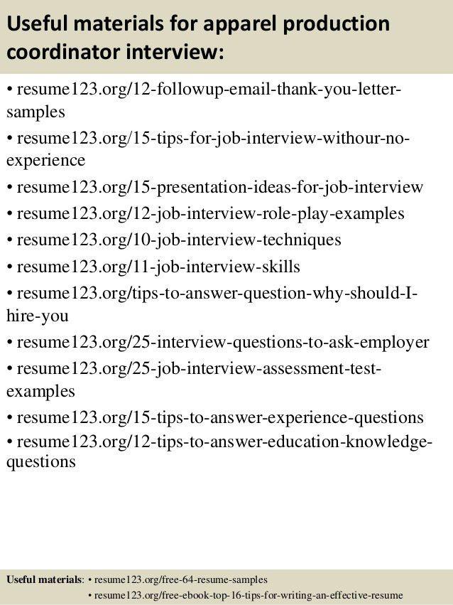 production coordinator resume