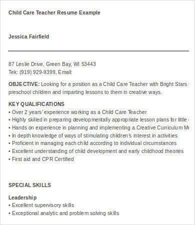 daycare teacher resume 165 useful resume samples teacher
