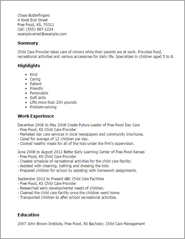 Daycare Resume Professional Daycare Teacher Assistant Templates - child care resume