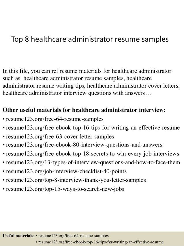 healthcare administrator resumes