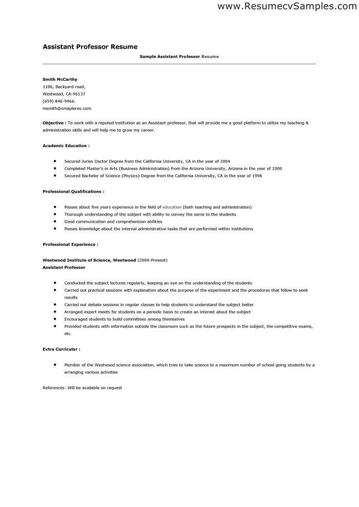 Resume For Adjunct Teaching Position Faculty Samples