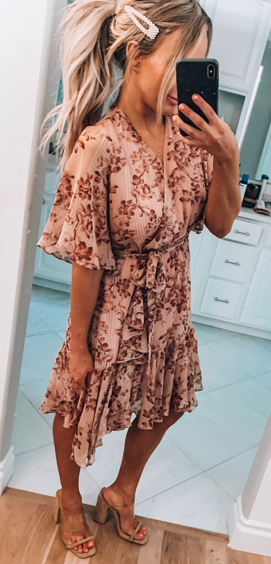 brown floral wrap-around dress #summer #outfits