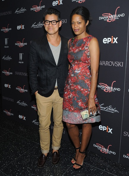 "Peter with Bonnie Morrison (wearing his dress) at ""Diana Vreeland: The Eye Has to Travel"" New York Premiere"
