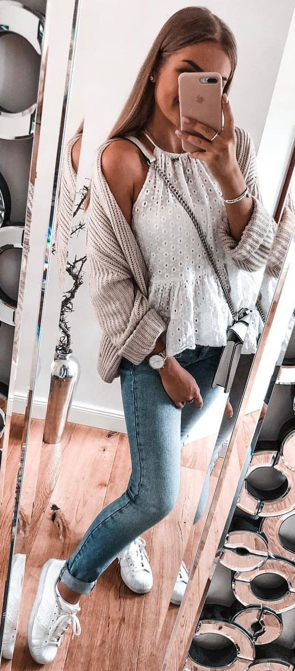White Dotted Top #spring #outfits