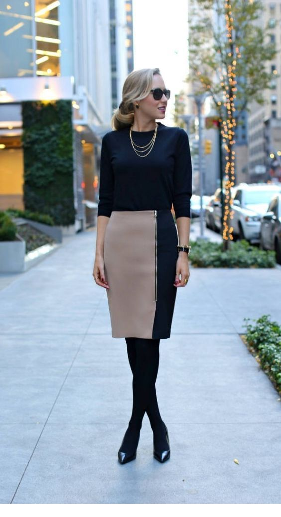 Chic beige and black office look