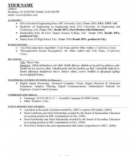 How To Write Academic Resume Student How To Write Academic - how to write a perfect resume