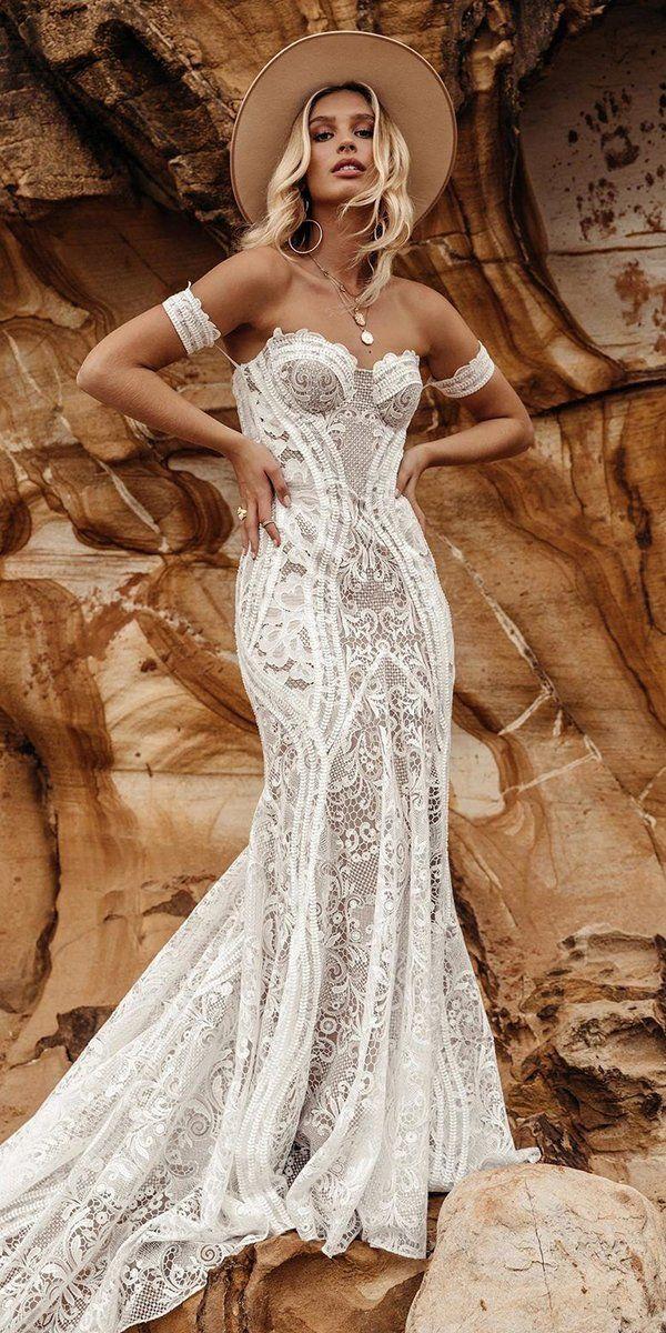 39 Boho Wedding Dresses Of Your Dream ❤ boho wedding dresses sweetheart strapless neckline lace ranch lovers society #weddingforward #wedding #bride