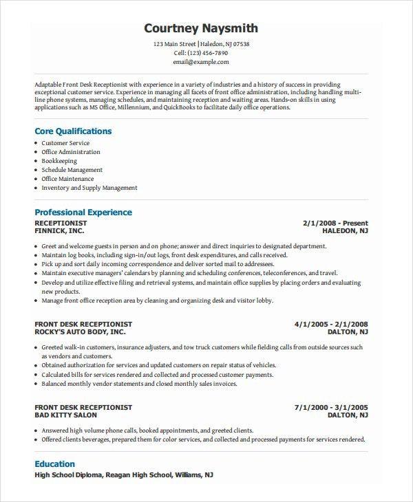 dental front office resume