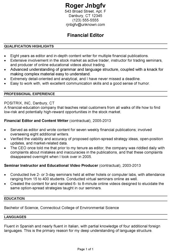 Example Great Resume 11 Great Resume Examples For College  Example Of A Great Resume