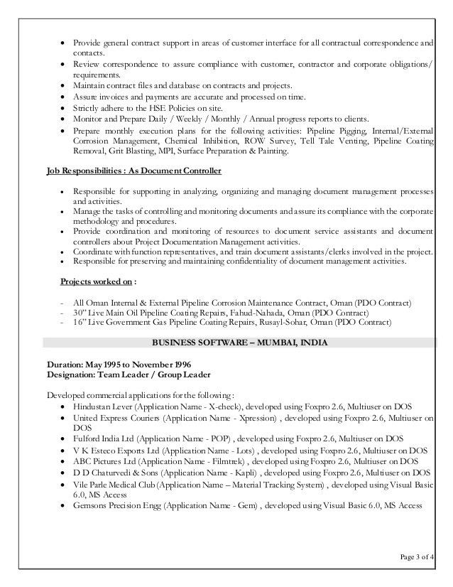 controller resume example