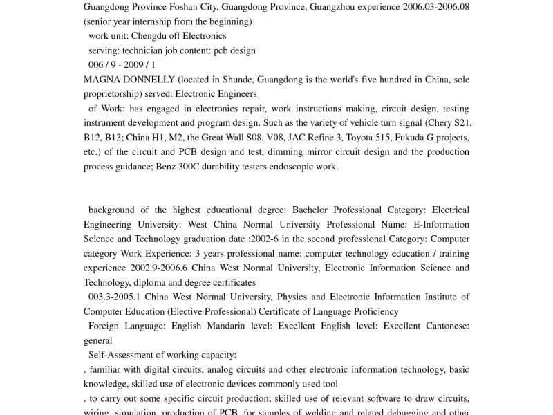 Pcb Design Engineer Resume Format Zrom