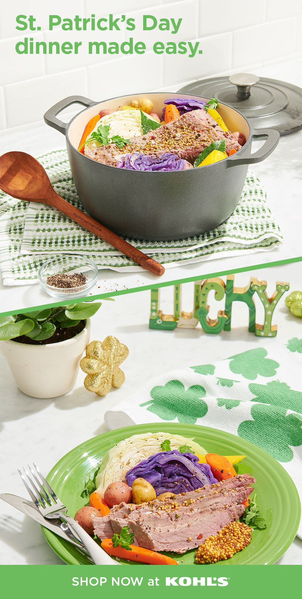 St. Patrick's Day is nearly here! As luck would have it, we have everything you need to fix the perfect Irish-inspired feast. Use Food Network cast-iron cookware to whip up some delicious corned beef and cabbage, and then serve it up on festive green Fiesta dishes. Shop St. Patrick's Day decor, plus dinnerware, cookware and more at Kohl's and Kohls.com. #StPatricksDay #mealprep