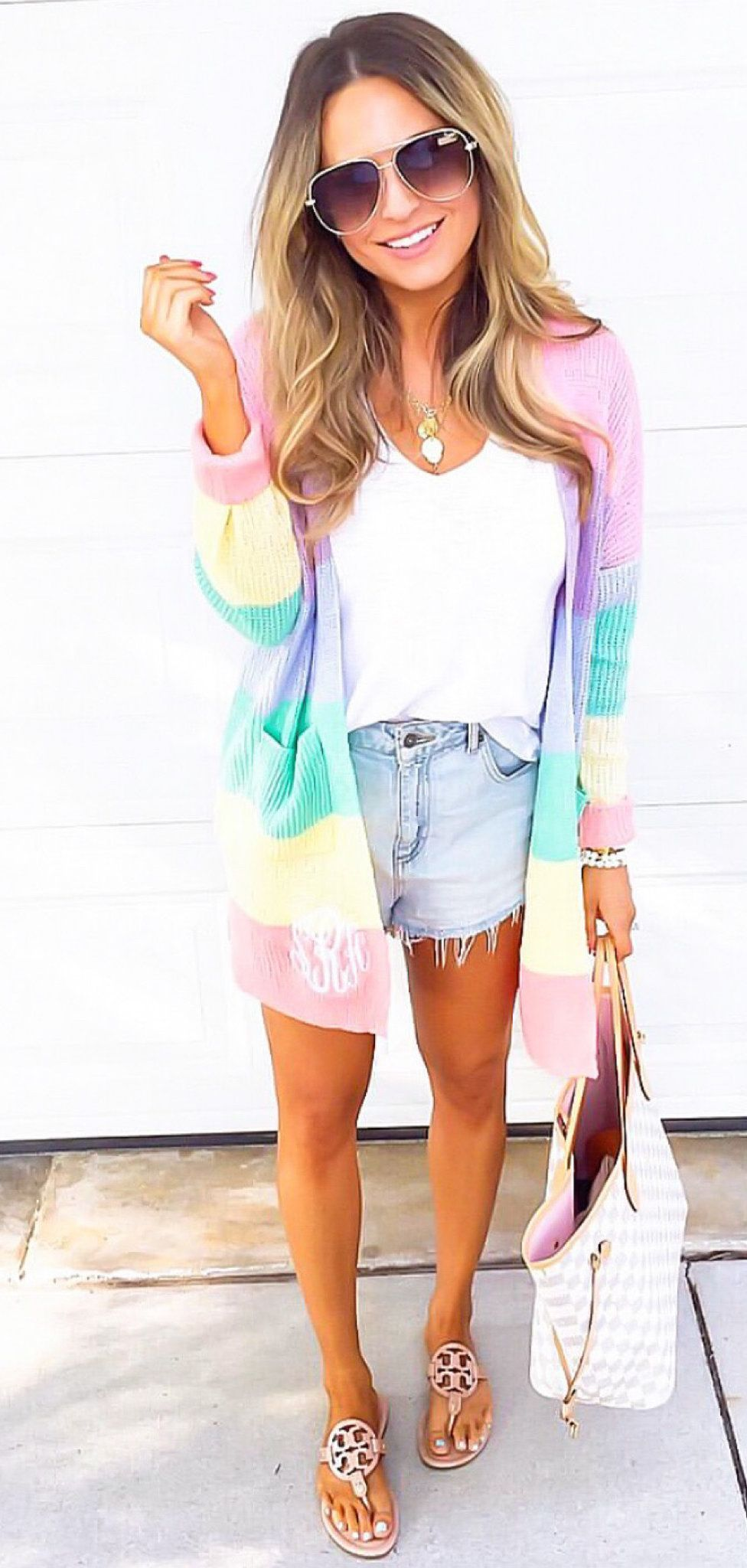 gray denim cut-off shorts #spring #outfits