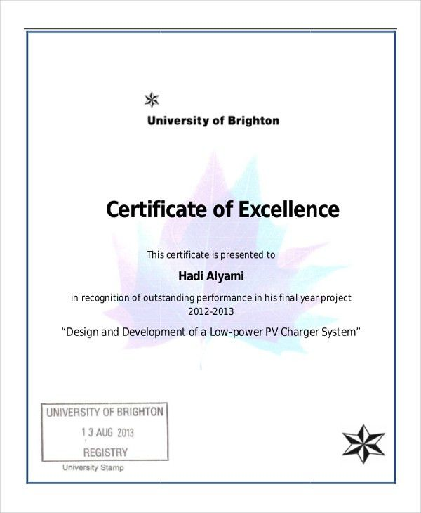 Certificate Of Excellence Template Word Certificate Of Excellence - awards certificates templates for word