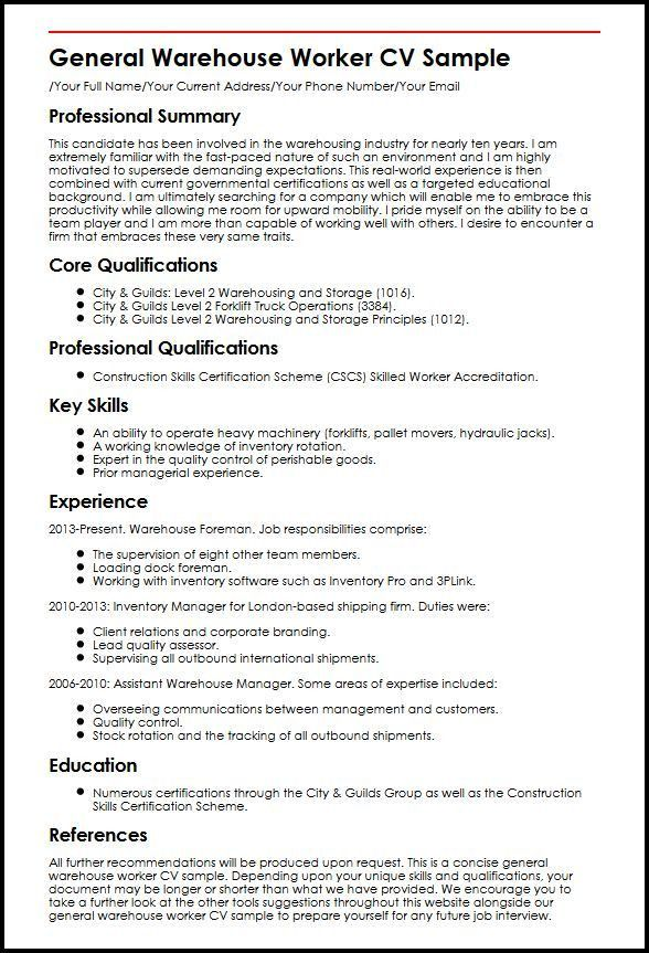 Warehouse Resume Template Unforgettable Warehouse Associate - warehouse resume examples