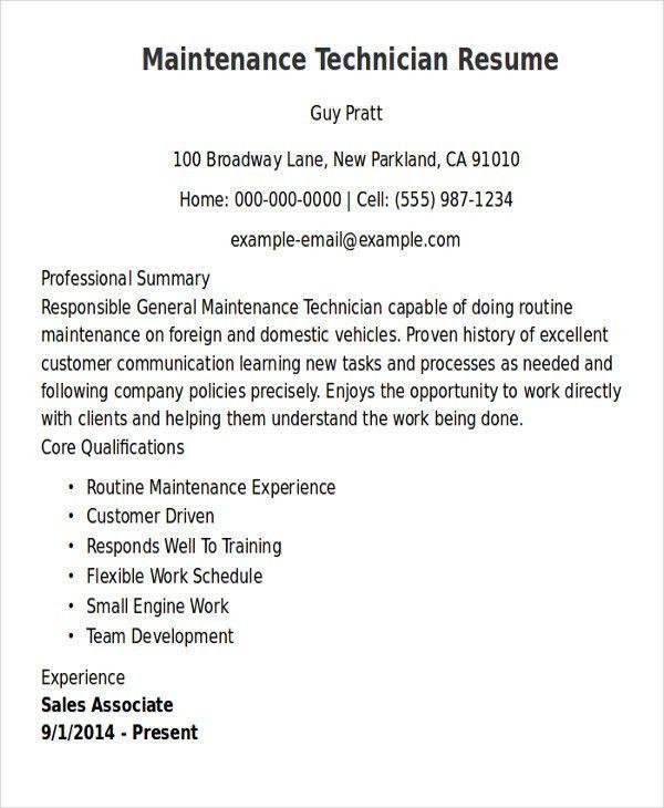 General Maintenance Technician Resume Unforgettable General - sample maintenance resume