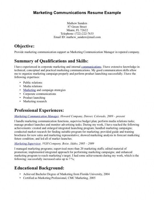 Resume Communication Skills Examples Some Example Of Resume - skill example for resume