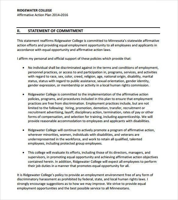 High Quality ... Doc#585650 Affirmative Action Plan Template U2013 Affirmative Action    Personal Action Plan Template ... Idea