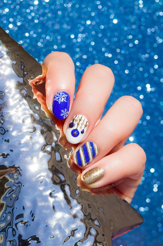 White and blue Christmas nail art || Holiday Nails. Plus, How-To – SoNailicious