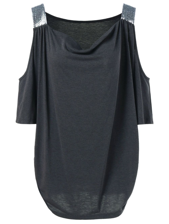 Cold Shoulder Sequined Trim T-Shirt