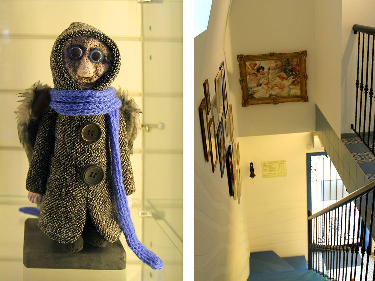 Слева ангел Повседневности, справа – вид со второго этажа музея. Фото: Evgenia Shveda