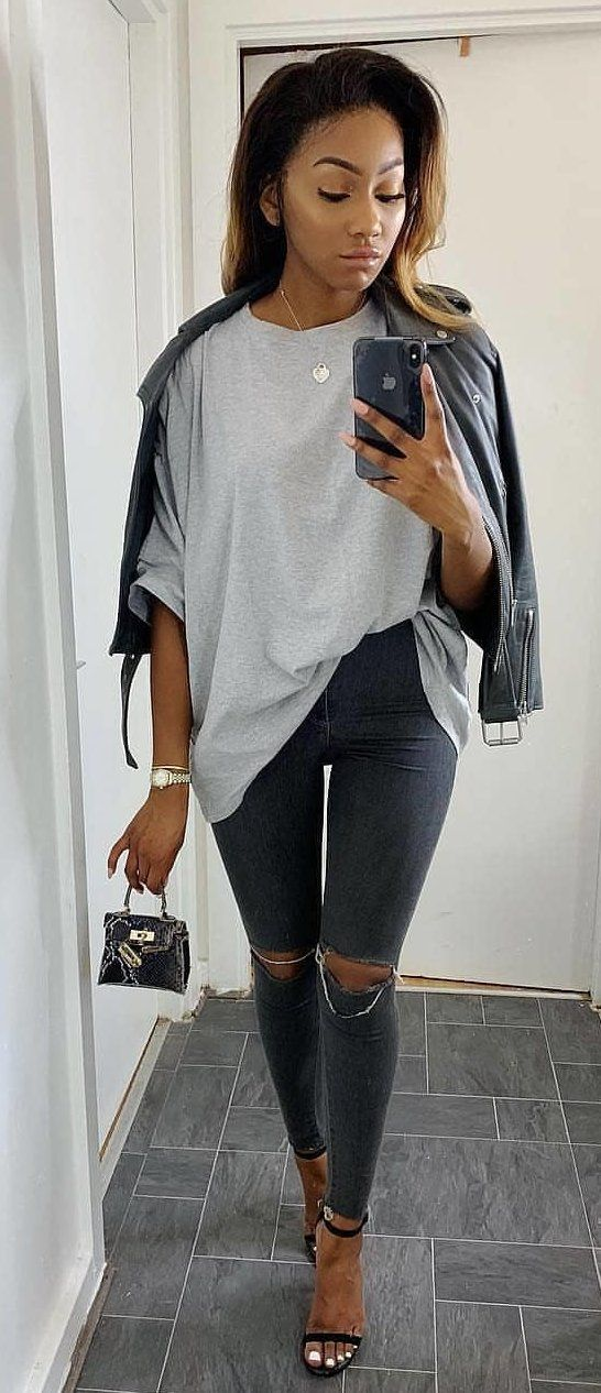 gray long-sleeved shirt and distressed gray denim fitted jeans #spring #outfits