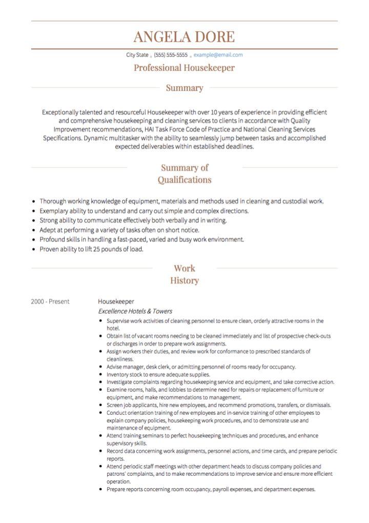 Resume Housekeeper Unforgettable Housekeeper Resume Examples To - resume for housekeeping