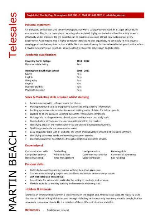 telemarketing resume samples cvresumeunicloudpl - Telemarketing Resume Samples
