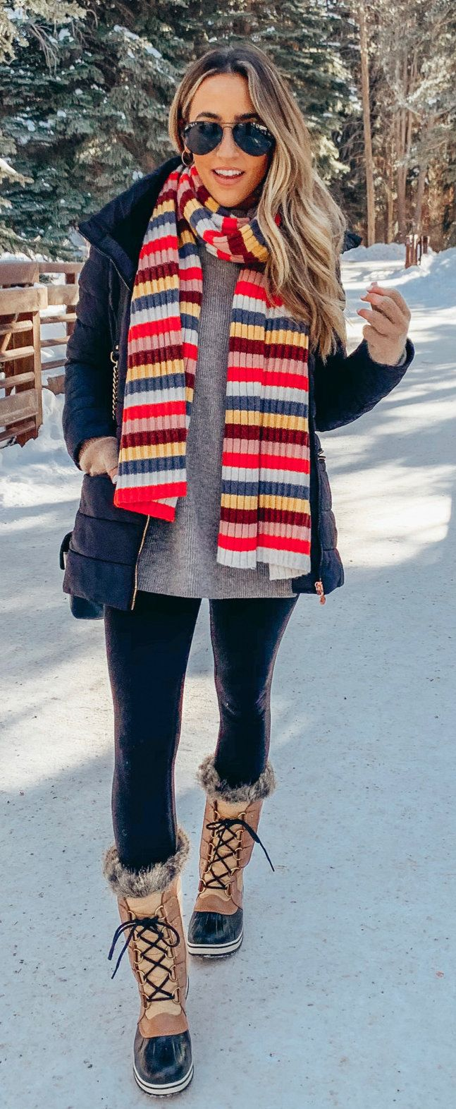 red and white striped scarf