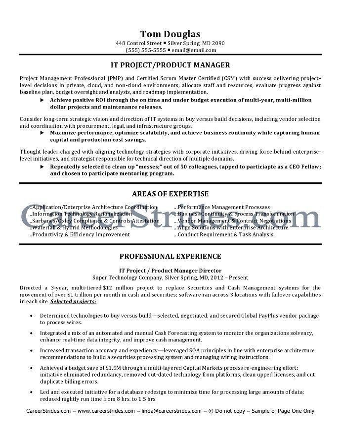 Product Manager Resume Example Product Manager Free Resume  Technical Product Manager Resume