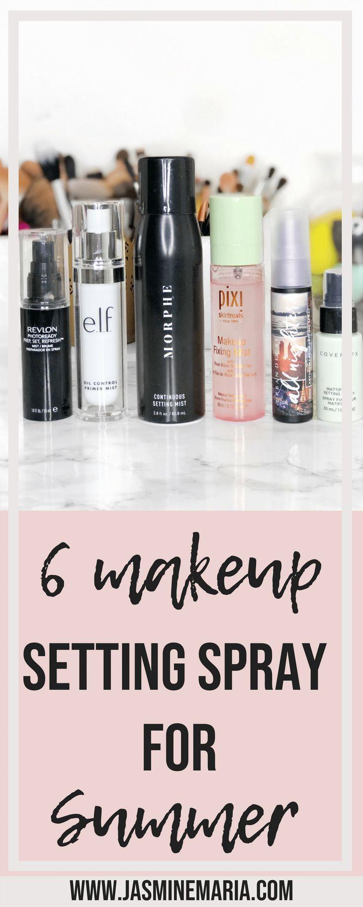6 Makeup Setting Sprays for Summer #beauty #makeup #makeupsettingspray #settingspray #summerbeauty #summermakeup #summermakeuptips