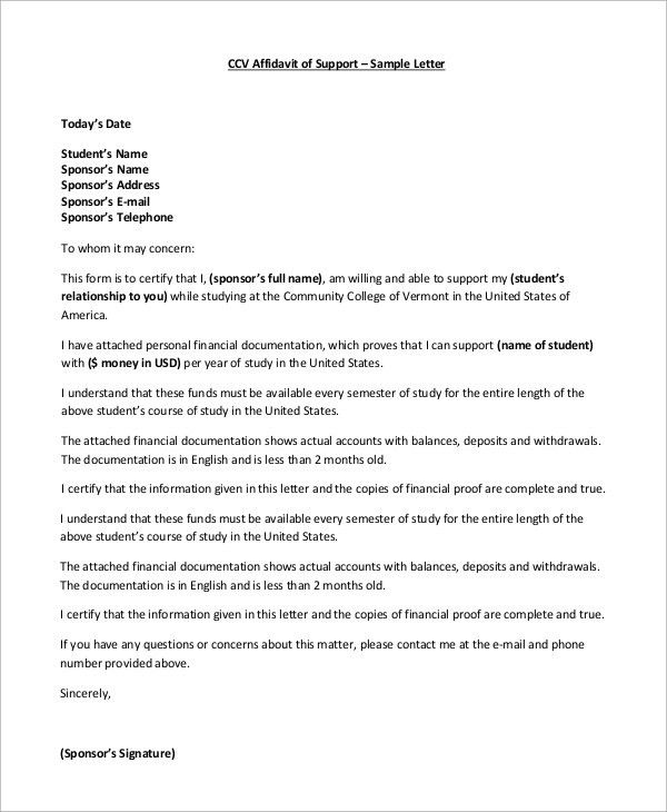 Letter Of Affidavit Template Sample Affidavit Free Sworn - affidavits template