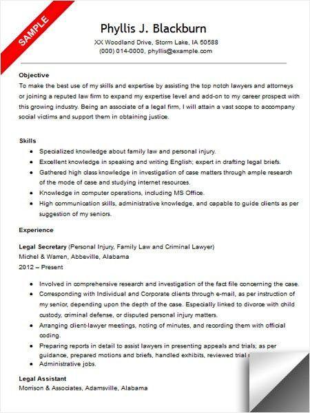 Sample Legal Assistant Resume Legal Resumes Legal Secretary